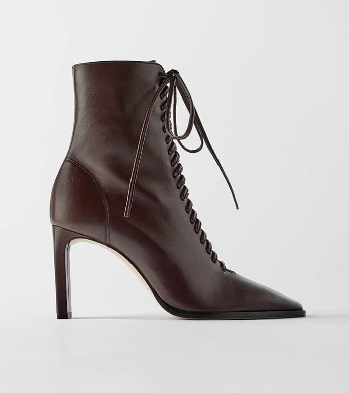 "**'Lace-Up Leather High Heel Ankle Boots', $219 at [ZARA](https://www.zara.com/au/en/lace-up-leather-high-heel-ankle-boots-p15103081.html?v1=53503586&v2=1009859|target=""_blank""