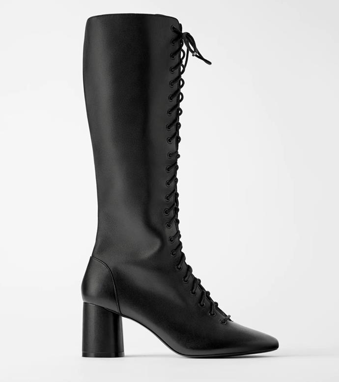 "**'High Heel Leather Boots With Laces', $219 at [ZARA](https://www.zara.com/au/en/high-heel-leather-boots-with-laces-p17002001.html?v1=53482727&v2=1009859|target=""_blank""