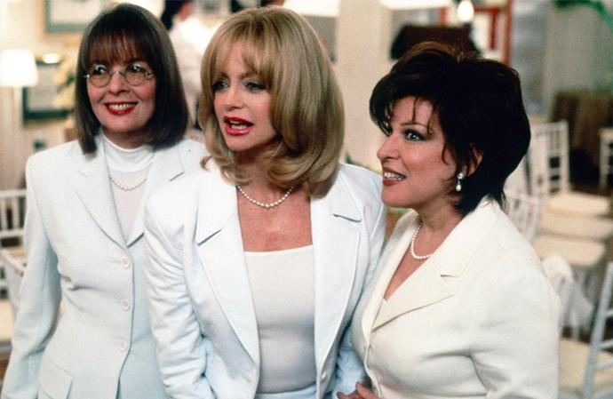 ***The First Wives Club***: At the funeral of a mutual friend, former college friends (Bette Midler, Goldie Hawn, Diane Keaton) reunite for the first time in nearly 30 years. When the three discover the reason for their friend's untimely death, they realise that all of their ex-husbands have taken them for granted — and agree that it's time for revenge, making a pact to get back at their exes and support other women in need.
