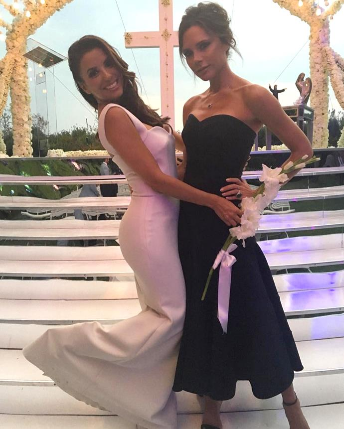 "**Victoria Beckham** <br><br> Victoria Beckham, who not only stood at the altar with her pal, Eva Longoria, but also designed her wedding gown and helped her select her shoes. ""She was amazing - a true bridesmaid!"" Longoria told *People*."