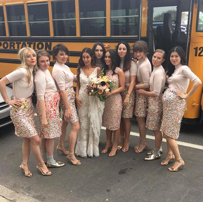 **Lena Dunham** <br><br> Lena Dunham looked like a sequin-embellished dream, in this custom J.Crew pencil skirt, that each member of the bridal party wore for, *The Wing*'s, Audrey Gelman.