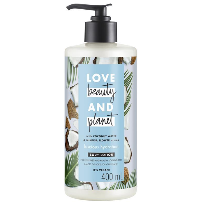 "Coconut Water and Mimosa Flower Body Lotion by Love Beauty & Planet, $13.99 at [Chemist Warehouse](https://www.chemistwarehouse.com.au/buy/91080/love-beauty-planet-coconut-water-mimosa-flower-body-lotion-400ml|target=""_blank""