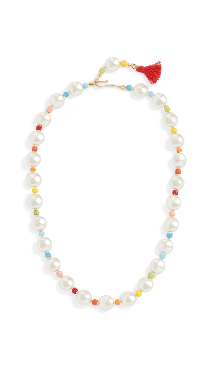 "Pancake Imitation Pearl Necklace, $173 approx by Roxanne Assoulin at [Shopbop](https://www.shopbop.com/pancake-pearl-necklace-roxanne-assoulin/vp/v=1/1567584236.htm?folderID=60580&fm=other-viewall&os=false&colorId=12802&ref_=SB_PLP_NB_67|target=""_blank""