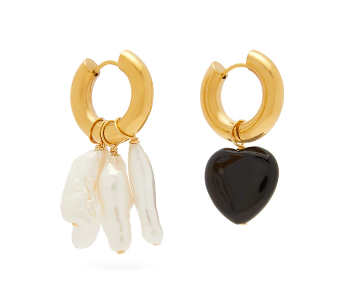 "Mismatched Pearl & Obsidian Earrings, $229 by Timeless Pearly at [MatchesFashion](https://www.matchesfashion.com/au/products/Timeless-Pearly-Mismatched-pearl-%26-obsidian-gold-plated-earrings-1337494|target=""_blank""