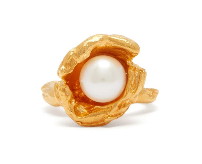 "Pearl and 24kt Gold-Plated Ring, $525 by Alighieri at [MatchesFashion](https://www.matchesfashion.com/au/products/Alighieri-Pearl-%26-24kt-gold-plated-ring-1350059|target=""_blank""
