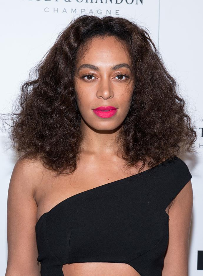 It's hard to pin down Ms. Knowles' best bright lip looks but this fuchsia moment is definitely a contender.