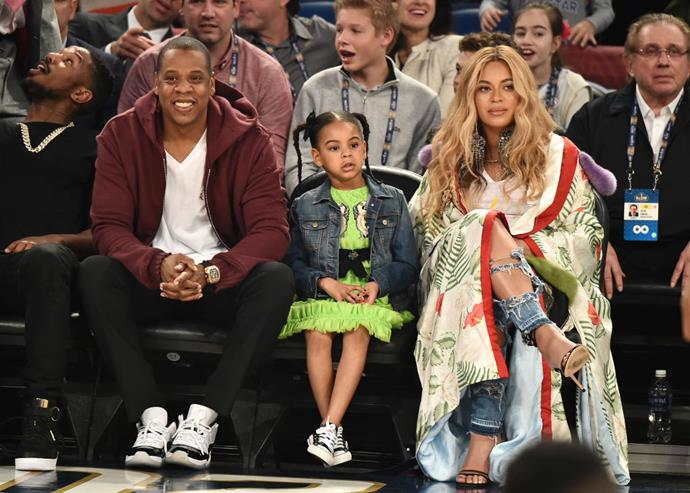 """**Beyoncé and Jay Z**<br><br>  Pictured here in 2017 with their first child **Blue Ivy**, the Carters also have twins with rather unique names: daughter **Rumi**, named after Sufi poet Rumi, and son **Sir**. As for the reason for Sir's striking moniker? Jay Z (real name Shawn Carter) [said](https://abcnews.go.com/Entertainment/jay-explains-meaning-twins-names-rumi-sir-carter/story?id=49434357