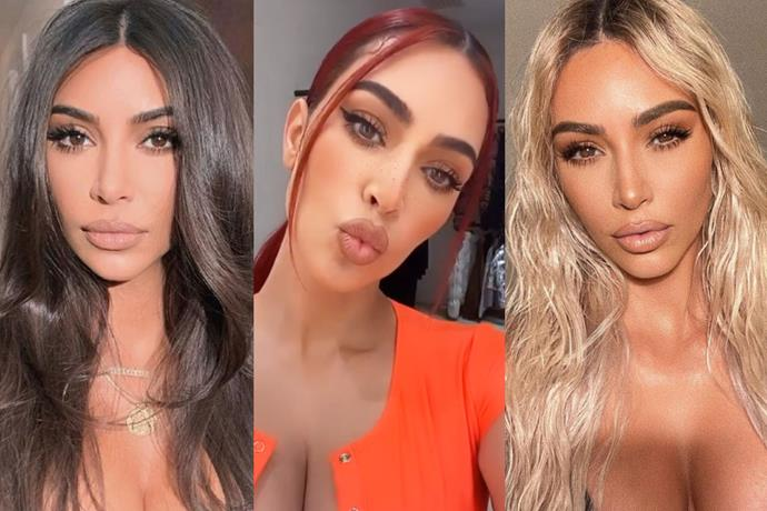 "**Kim Kardashian West**<br><br>  A longtime fan of the [hair transformation](https://www.harpersbazaar.com.au/beauty/celebrity-beauty-transformations-14334|target=""_blank""), Kim Kardashian West typically flits between dark brunette strands and striking platinum blonde, but did try her hand at [garnet red hair](https://www.harpersbazaar.com.au/beauty/dark-red-hair-colour-20010