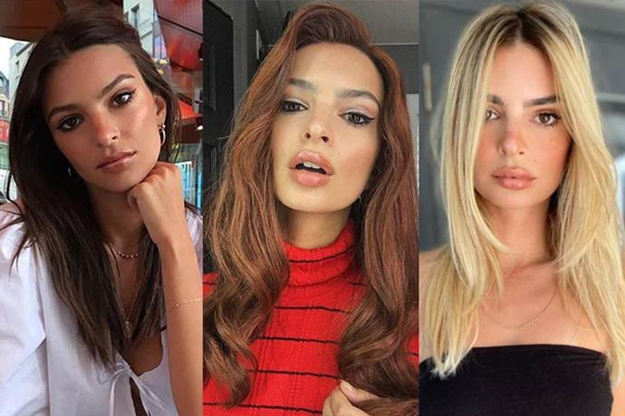 "**Emily Ratajkowski**<br><br>  Dyeing [her hair blonde](https://www.harpersbazaar.com.au/beauty/emily-ratajkowski-blonde-20417|target=""_blank"") for the first time ever in 2020, Emily Ratajkowski has officially completed the trifecta (even if the red one was a wig!)."