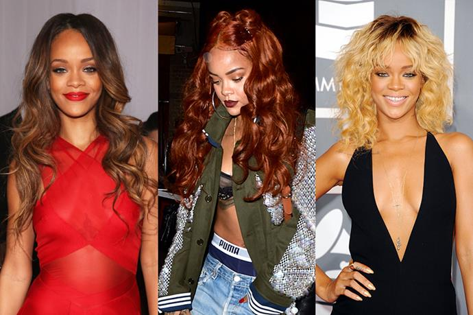 **Rihanna**<br><br>  Really Rihanna shouldn't even be in this list because she has literally had every hairstyle known to man, but we included her just because we like looking at her. She's done blonde, brunette and red multiple times.