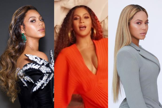 "**Beyoncé**<br><br>  While the *Lemonade* songstress tends to swing between ['chocolate cake' hair](https://www.elle.com.au/beauty/chocolate-cake-hair-colour-23098|target=""_blank"") and honey blonde, she had a blink-and-you'll-miss-it red hair moment in [her *Spirit* music video](https://www.elle.com.au/fashion/beyonce-spirit-music-video-fashion-20876