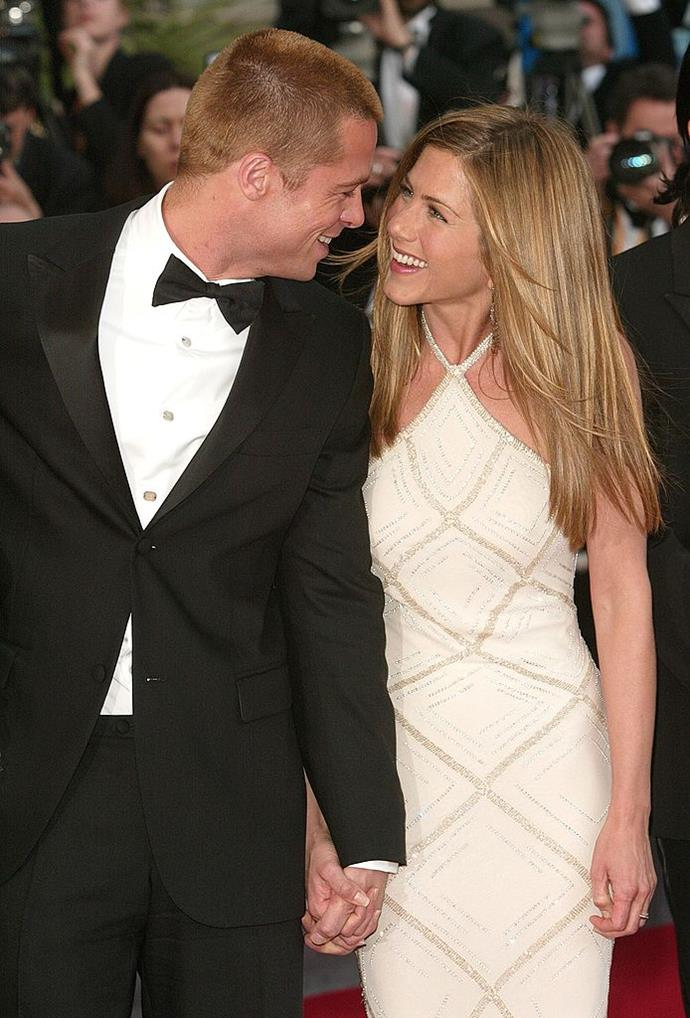 **Jennifer Aniston and Brad Pitt** <br><br> Arguably the most famous breakup in Hollywood? What else can we say other than the hope will never die. #TeamJen
