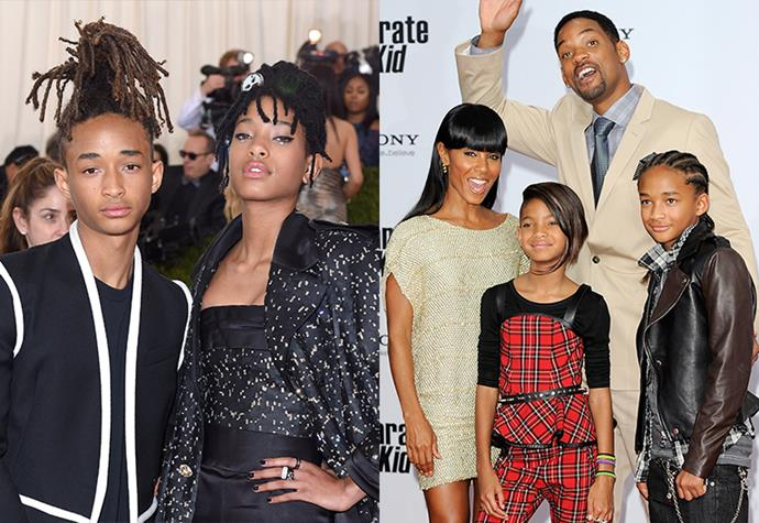 **Jaden and Willow Smith** <br><br> Sibling duo Jaden and Willow Smith may be known for their eccentricities, but most know them for their famous parents: Will and Jada Pinkett Smith. Both hugely successful actors, Jada has starred in everything from *The Matrix Reloaded* to  *Scream*, with Will heading up a ton of franchises of his own—such as *The Fresh Prince Of Bel-Air* and *Men In Black*. <br><br> With parents like Will Smith and Jada Pinkett Smith, there's no question to how these siblings became so talented. Eldest sibling, Jaden, has starred in numerous feature films, has released two albums and has walked the runway for Louis Vuitton. Whereas Willow has found her success in music as a singer, songwriter and record producer. Oh, and a casual Chanel ambassadorship thrown in, too.