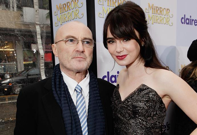 """**Lily Collins** <br><br> While some may recognise their matching surnames, many are unaware that Lily Collins is actually the daughter of Phil Collins, the famous musician. Made famous for hit-song """"In The Air Tonight"""", his stellar music career kept him winning Academy Awards and topping charts. <br><br> However, Lily Collins' newfound fame has taken her to Hollywood It-status. Appearing in films such as *Love, Rosie* and *The Mortal Instruments*, her rise to fame was set in stone before she even hit 25 years old."""
