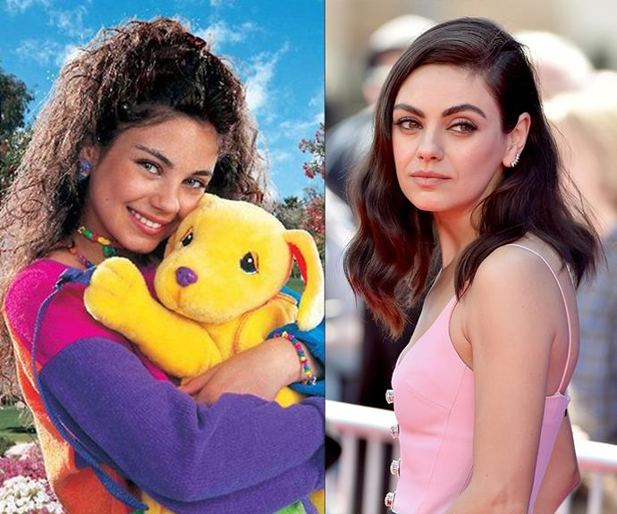 "**Mila Kunis** <br> Way back in 1993, Mila Kunis modelled for *Lisa Frank* magazine. And while this photo looks to be straight out of the early '90s, [her commercial](https://www.youtube.com/watch?v=QucVA3OC9_E|target=""_blank""