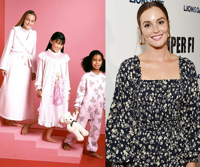 **Leighton Meester** <br> Before her days as Blair Waldorf on *Gossip Girl*, Leighton Meester (left) was a model for children's sleepwear in the '90s. She also modelled for Ralph Lauren and Limited Too, before debuting in *Law & Order* at the age of 14.