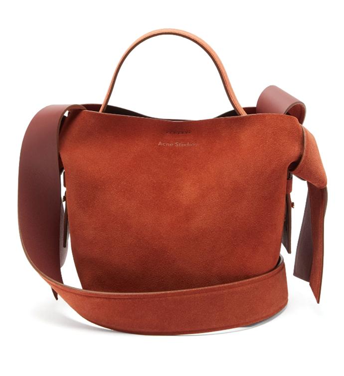 "Musubi Mini Suede Crossbody Bag, $1,340 by Acne Studios at [MatchesFashion](https://www.matchesfashion.com/au/products/Acne-Studios-Musubi-mini-suede-cross-body-bag%09-1328443|target=""_blank""|rel=""nofollow"")."