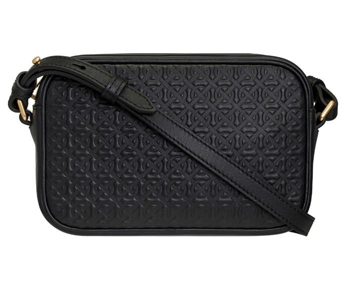 "Celest Zip Crossbody Bag, $279.20 by [Oroton](https://oroton.com/celeste-zip-crossbody-black-emboss-osfa|target=""_blank""|rel=""nofollow"")."