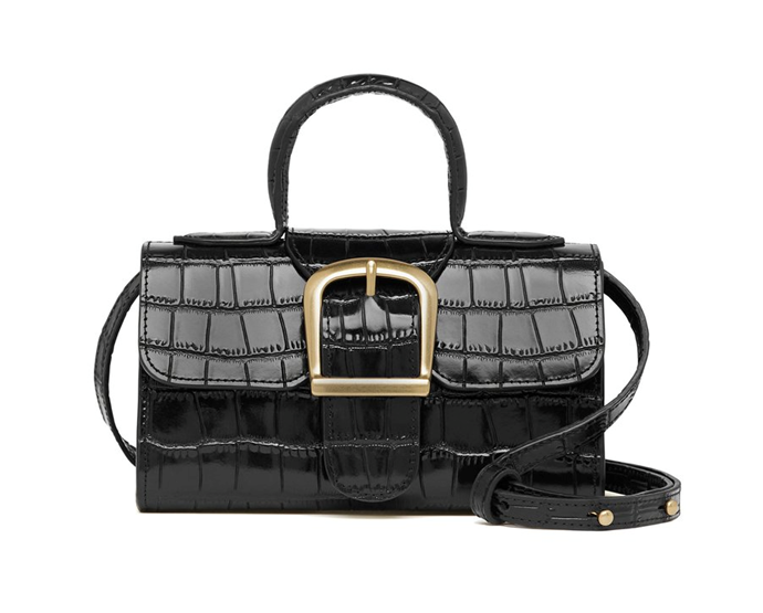 """3.4 Black Embossed Mini Satchel Bag, $699 by Rylan at [The Undone](https://www.theundone.com/collections/rylan/products/mini-satchel-black-embossed?variant=31843476701258
