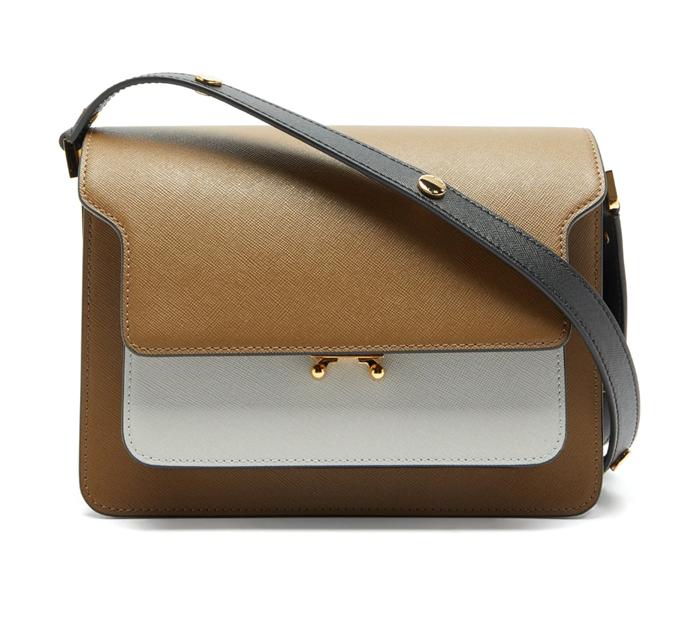 "Trunk Medium Saffiano-leather Bag, $2,897 by Marni at [MatchesFashion](https://www.matchesfashion.com/au/products/Marni-Trunk-medium-saffiano-leather-bag-1358444|target=""_blank""|rel=""nofollow"")."