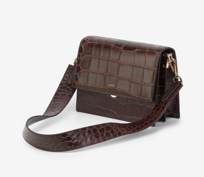 "Mini Flap Crossbody Bag, $85 AUD approx. by [JW PEI](https://www.jwpei.com/products/mini-flap-bag-brown-croc|target=""_blank""|rel=""nofollow"")."