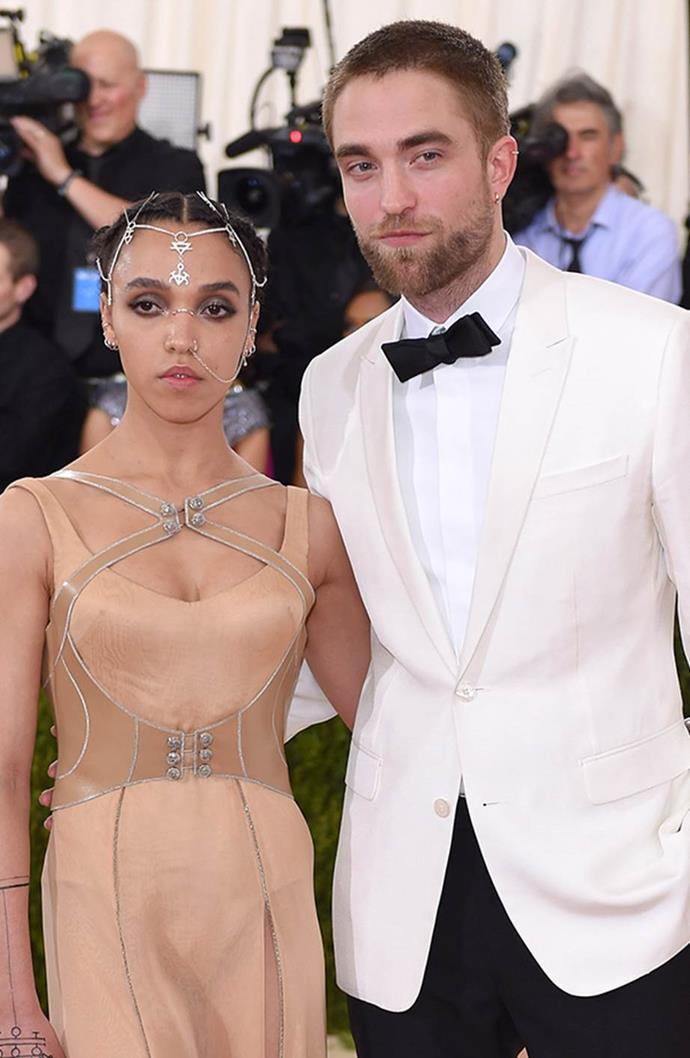 """**FKA Twigs and Robert Pattinson** <br><br> Compared to his relationship with Kristen Stewart, Pattinson was super private about his life with musician FKA Twigs. The pair began dating in mid-2014 and confirmed their engagement in April 2015. They made their first official appearance at the 2015 Met Gala. Unfortunately, after three years together, the pair split in 2017. Since then, Pattinson has began a relationship with model, [Suki Waterhouse](https://www.harpersbazaar.com.au/celebrity/suki-waterhouse-dating-history-17073
