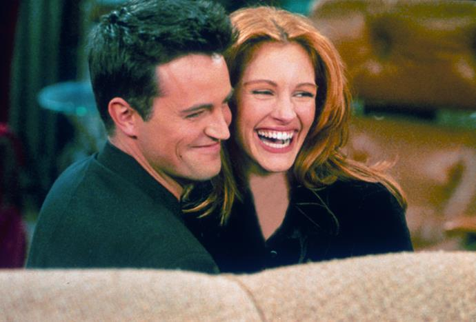 """**Matthew Perry and Julia Roberts** <br><br> After Julia Roberts made a guest appearance as Susie Underpants on season two of *Friends*, Matthew Perry and Roberts hit it off. Dating throughout 1996, a friend of Roberts' spoke out about the romance to *[People](https://people.com/celebrity/matthew-perry-and-julia-roberts-friends-episode-was-20-years-ago/