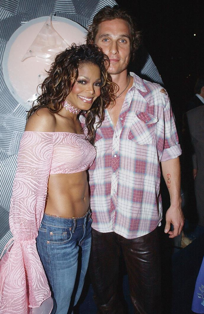 """**Janet Jackson and Matthew McConaughey** <br><br> After appearing on Andy Cohen's *Watch What Happens Live*, McConaughey revealed that he and Janet Jackson previously dated. Admitting that their efforts for romance revolved around having """"dinner one night. That was sorta it."""""""