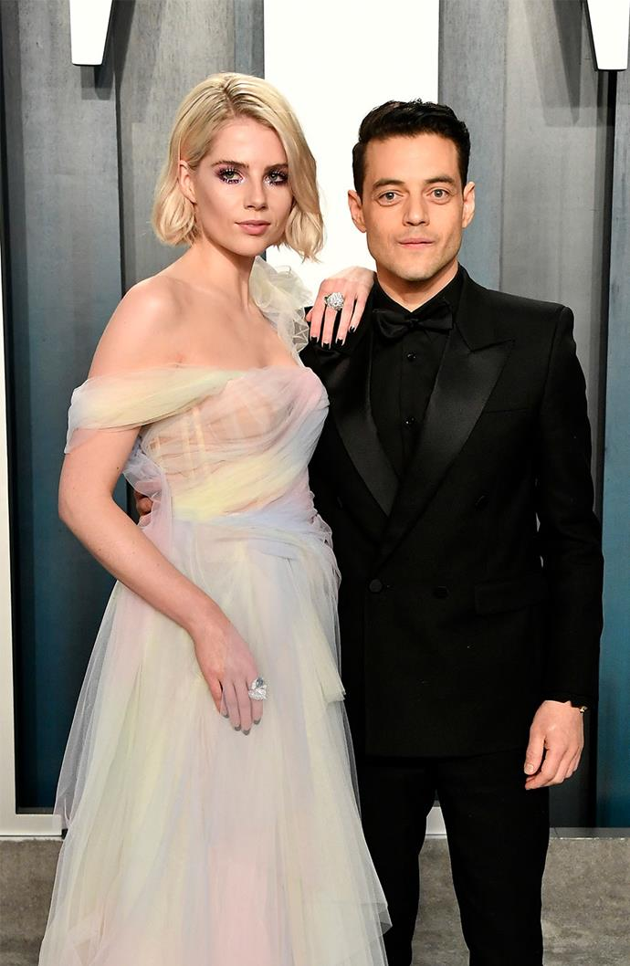 **Rami Malek and Lucy Boynton** <br><br> Meeting on the set of 2018's Oscar-winning biopic *Bohemian Rhapsody*, the pair took their on-screen relationship to the real world. After making their red carpet debut throughout 2019's award season, the couple are still together but prefer to stick to scrolls through New York City.