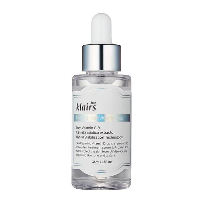 """**Best Korean Beauty Vitamin C Serum For Sensitive Skin Types**<br><br>  The Klairs Freshly Juiced Vitamin Drop is ideal for beginners or sensitive skin types, It has a lower percentage (5%) of vitamin C but is still effective enough for brightening or fading dark spots and is gentle enough for daily use.<br><br>  *Klairs Freshly Juiced Vitamin Drop, $35 at [Nudie Glow](https://nudieglow.com/products/klairs-freshly-juiced-vitamin-drop-vitamin-c
