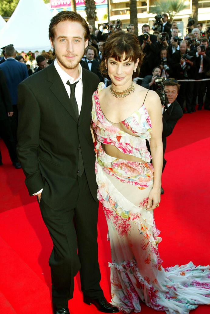 **Ryan Gosling and Sandra Bullock** <br><br> For most, it's difficult to remember Ryan Gosling's romantic life prior to Rachel McAdams. However, Gosling did date Sandra Bullock from 2002 to 2003, while she was 38 and he was 22. Making their official red carpet debut at the Cannes premiere of *Murder By Numbers*, and the premiere of Gosling's film *The Believer*.