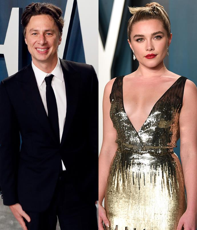 """**Zach Braff, 45, and Florence Pugh, 24.** <br> Difference: 21 years. <br><br> Pugh has spoken out about her relationship on more than one occasion. In April 2020, [Pugh addressed](https://www.elle.com.au/celebrity/florence-pugh-zach-braff-instagram-23297