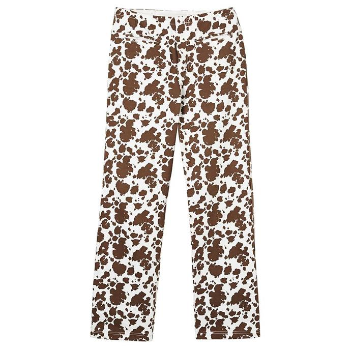 "Kokomo Pants in Cowhide, $225 by [Holiday The Labe](https://holidaythelabel.com/collections/pants/products/kokomo-pants-cowhide|target=""_blank""