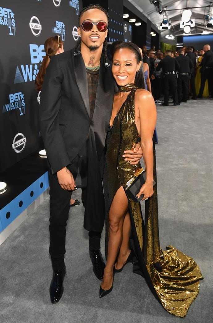 """**Jada Pinkett Smith and August Alsina**<br><br>  **Age difference:** 21 years<br><br>  During a period in which Jada Pinkett Smith and husband Will Smith were separated, the 48-year-old *Girls Trip* actress began a relationship (or as she called it, [an """"entanglement""""](https://www.elle.com.au/celebrity/will-jada-red-table-reactions-23750