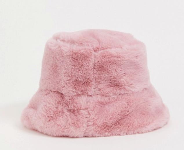 "Faux Fur Bucket Hat, $12.60 by [ASOS](https://www.asos.com/au/asos-design/asos-design-faux-fur-bucket-hat-in-pink/prd/12862820?channelref=product+search&affid=24792&mk=abc&ppcadref=9995283117%7C99537616463%7Caud-810270772695:pla-329222313026&gclid=Cj0KCQjw0rr4BRCtARIsAB0_48M79r1OlLT2-cHNqDZhRTAWswG8DGjJpirrNl7bf9Dy7ipNXqSoMcIaAq1zEALw_wcB&gclsrc=aw.ds|target=""_blank""|rel=""nofollow"")."