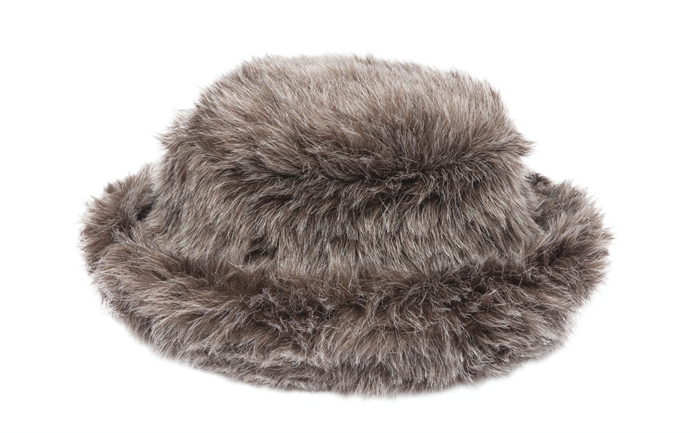 "Faux Fur Bucket Hat in Cocoa, $140 AUD approx. by [CLYDE](https://clyde.world/collections/leather-hats/products/fur-bucket-hat-in-cocoa|target=""_blank""