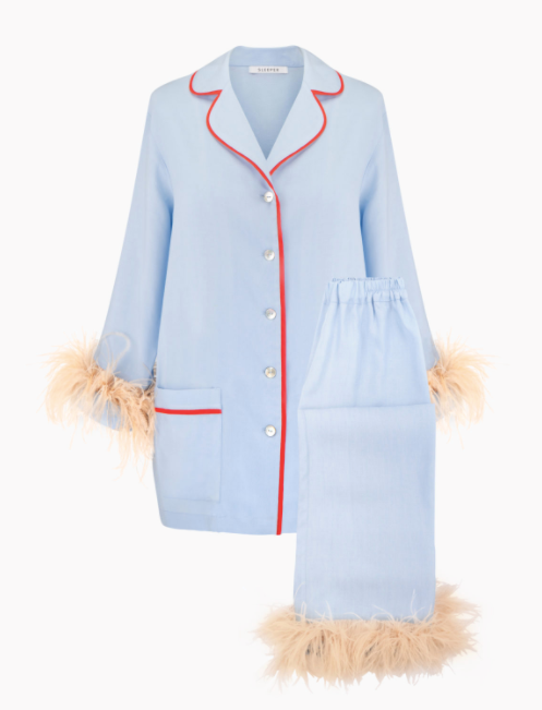 """Party Pyjama Set With Feathers in Blue, $224 USD by [Sleeper](https://the-sleeper.com/en/product/party-pajama-set-with-feathers-in-blue/
