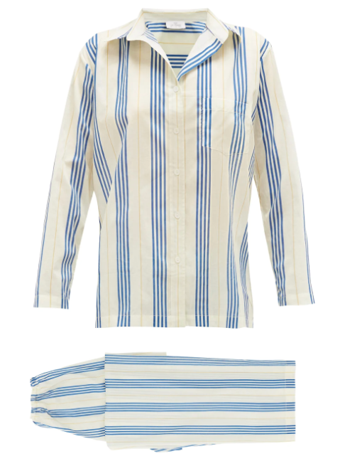 "Striped Cotton-voille Pyjamas, $300 by Pour Les Femmes at [MatchesFashion](https://www.matchesfashion.com/au/products/Pour-Les-Femmes-Striped-cotton-voile-pyjamas--1350001|target=""_blank""|rel=""nofollow"")."