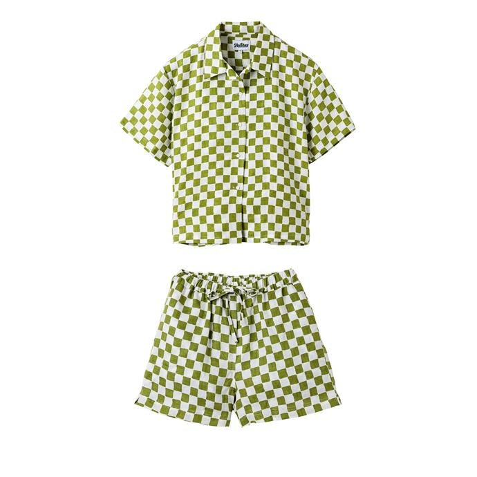 """Pyjama Set in Check Olive, $225 by [Holiday The Label](https://holidaythelabel.com/collections/pyjamas/products/pyjama-short-set-olive-check