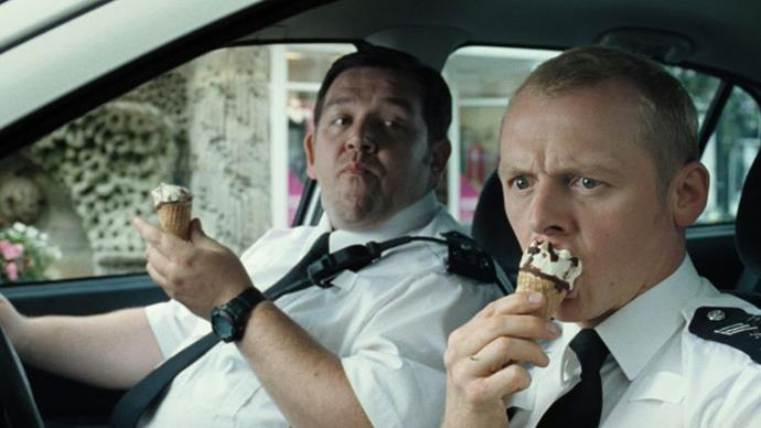 "***Hot Fuzz*** <br><br> When militant detective, Nicholas Angel, finds himself in a small, seemingly boring country town, he starts to believe the community is covering up the truth behind many of their ""accidental"" deaths. And while that reads like a thriller, Simon Pegg and Nick Frost are a comedy duo match made in heaven."