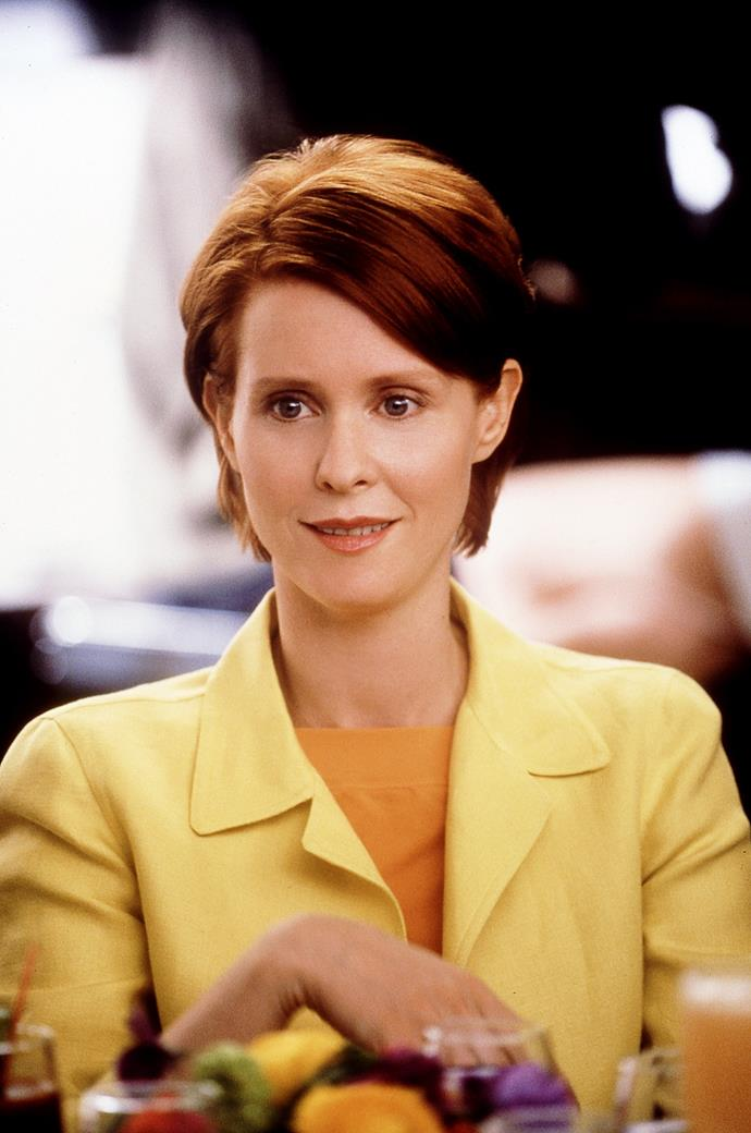 A canary yellow pant suit worn with a mustard top? Years ahead of her time.