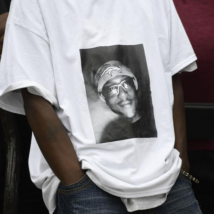 Elijah McClain's father, LaWayne Mosley, wearing a t-shirt with his son's picture on it during a press conference in Aurora on October 1, 2019.