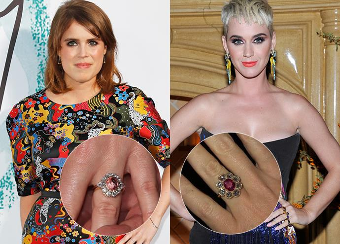 ***Princess Eugenie and Katy Perry***<br><Br> For their ladies, both Jack Brooksbank and Orlando Bloom chose pink stones (Eugenie's is a 2.5 carat padparadshca sapphire, Katy's is rumoured to be a 'rare 4-carat pink diamond') surrounded by floral-inspired diamonds, set into gold.