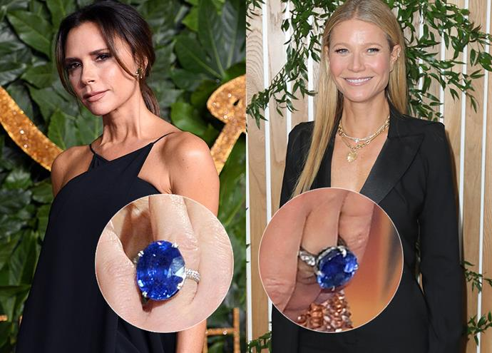 "***Victoria Beckham and Gwyneth Paltrow***<br><br> Although she has 14 (yes, 14—more on that [here](https://www.harpersbazaar.com.au/bazaar-bride/victoria-beckham-engagement-rings-14835|target=""_blank"")), one of Victoria Beckham's engagement rings is a dead-ringer for Gwyneth Paltrow's. Around 2010, VB debuted this addition to her collection: an oval-cut sapphire set onto a pavé band. Paltrow's, which she rarely wears, is a 12-carat round-cut blue sapphire set on a jewelled band."