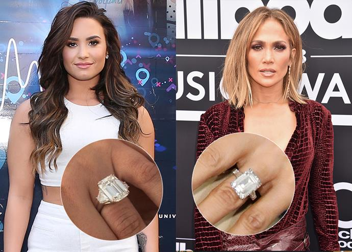 ***Demi Lovato and Jennifer Lopez***<br><Br> Two of the biggest rings in Hollywood, Demi Lovato and Jennifer Lopez's rocks share more than just a cut. The emerald-cut diamonds (Demi's is 10 carats, JLo's is 20) are both set into platinum bands and are both flanked by baguettes (Demi's are trapezoid-shaped diamonds, JLo's are tapered emerald-cut diamonds).