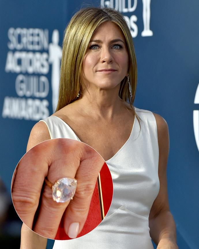 **The wearer:** Jennifer Aniston<br><br> **The ring:** A 8- or 9-carat rose-cut diamond set in gold.<br><br> **The pricetag:** $1.4 million AUD