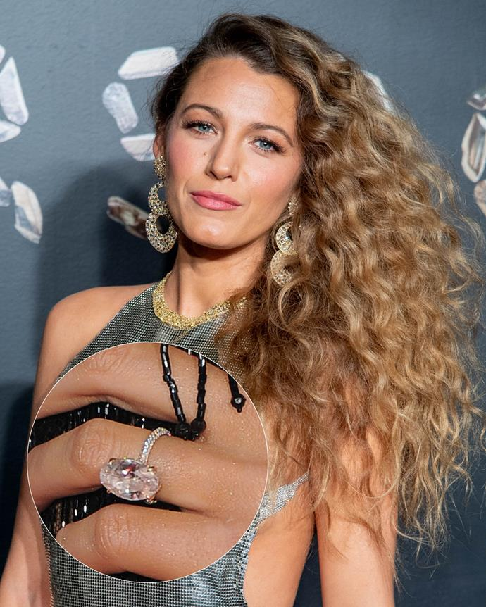 **The wearer:** Blake Lively<br><br> **The ring:** A rare oval-cut pink diamond, set on a rose gold pave band.<br><br> **The pricetag:** $2.7 million AUD