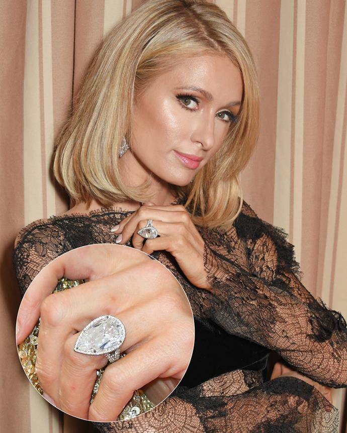 **The wearer:** Paris Hilton<br><br> **The ring:** A 20-carat pear-shaped diamond on an embellished band.<br><br> **The pricetag:** $2.8 million AUD