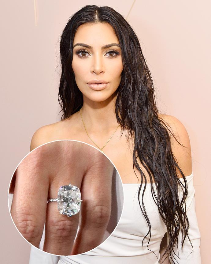 **The wearer:** Kim Kardashian West<br><br> **The ring:** A 15-carat cushion-cut diamond set on a thin, pave band.<br><br> **The pricetag:** $5.5 million AUD