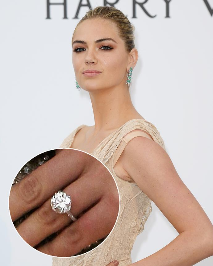 **The wearer:** Kate Upton<br><br> **The ring:** An 8-carat round-cut diamond on a platinum band.<br><br> **The pricetag:** $2 million